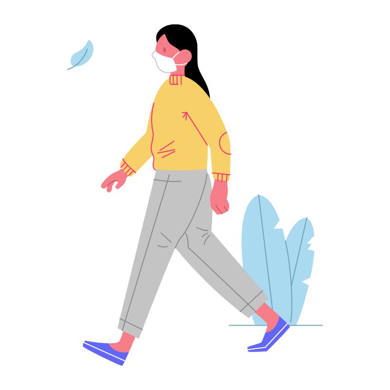 Mujer caminando Covid19